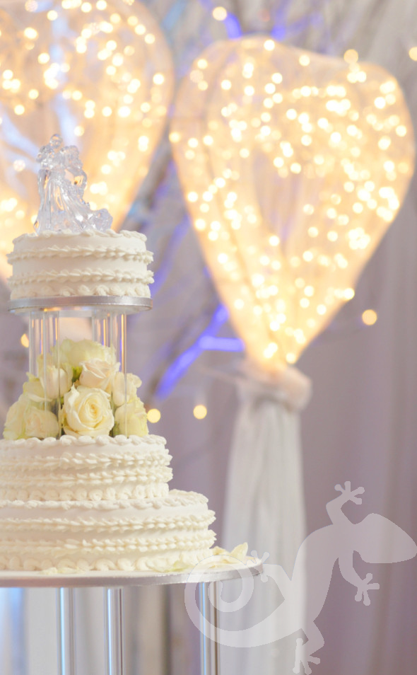 classic elegance, I do, white wedding, fairy light hearts, style