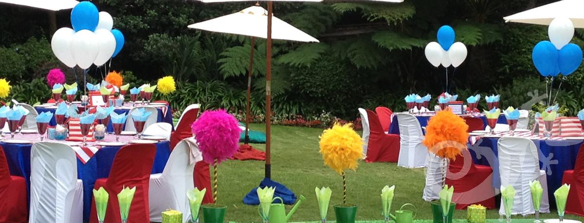 Garden party, exterior decor, Dr Seuss