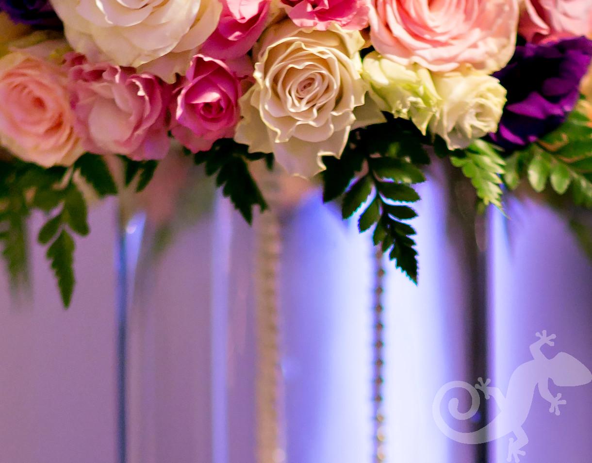 I do... wedding reception portfolio, glass vase, pink roses