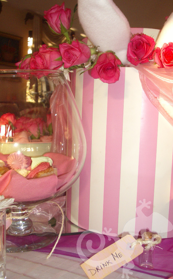 Alice in Wonderland, pink and white hat boxes