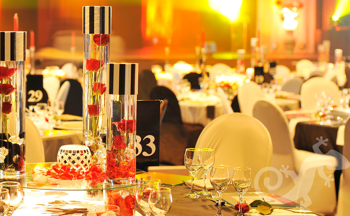 Awards Evenings events cylinder vases roses