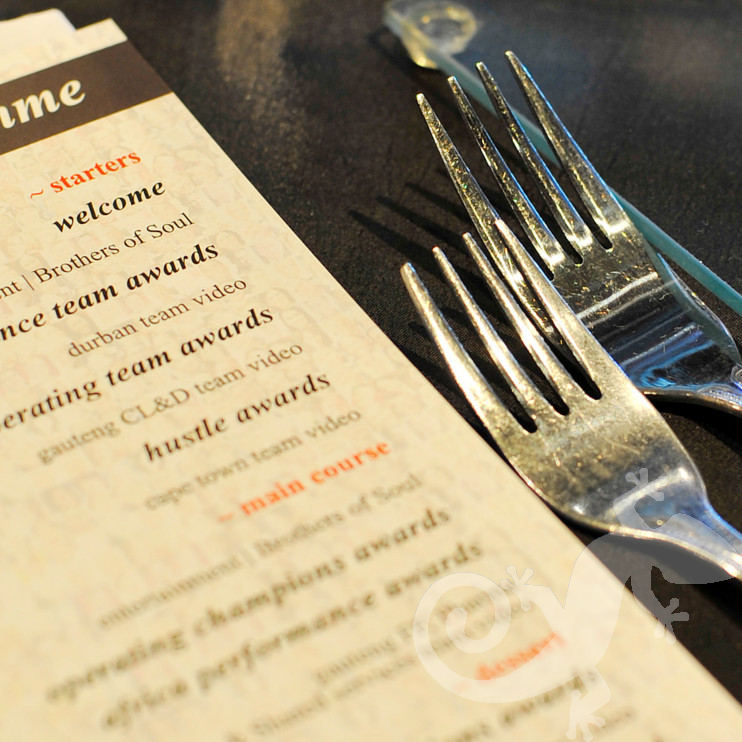 Awards Evenings events place setting menus