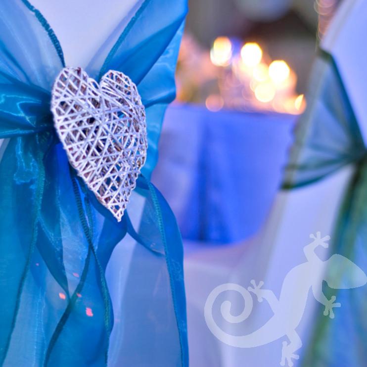 wedding, I do, chair detail, woven heart, blue sash