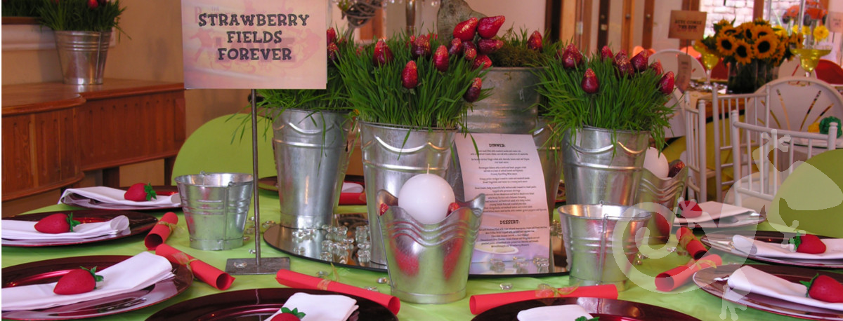 21st Birthday Party Beatles song titles Strawberry fields forever table decor