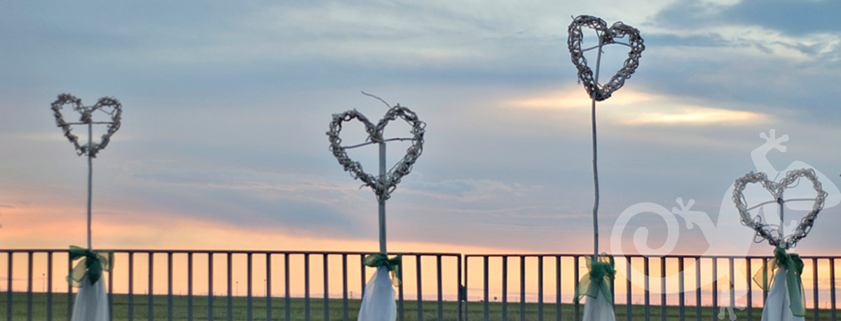 wedding, I do, love, woven hearts, summer night
