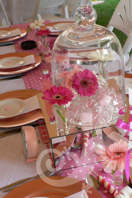 Alice in Wonderland glass domes, pink table decor