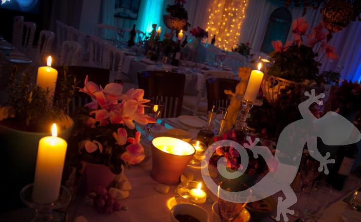candle-lit island table setting, lighting, Greek theme