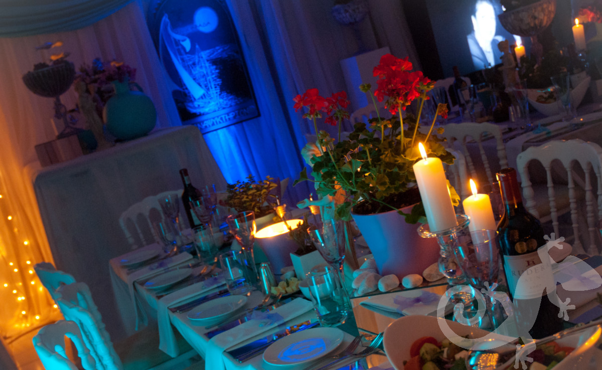 beautiful island table setting, lighting, Greek theme