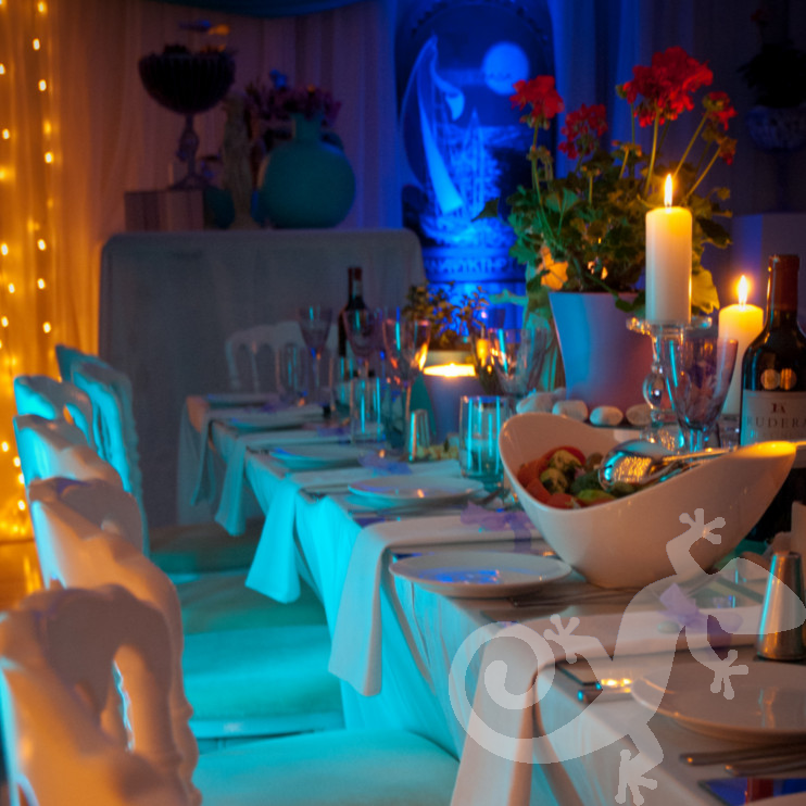 beautiful island table setting, ambient lighting