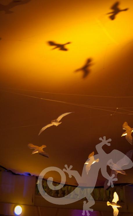 Greek tavern theme, seagulls flying decor