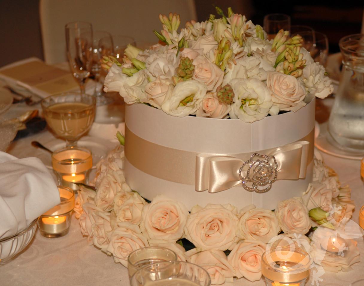 Chic hat box floral design, centrepiece, petals
