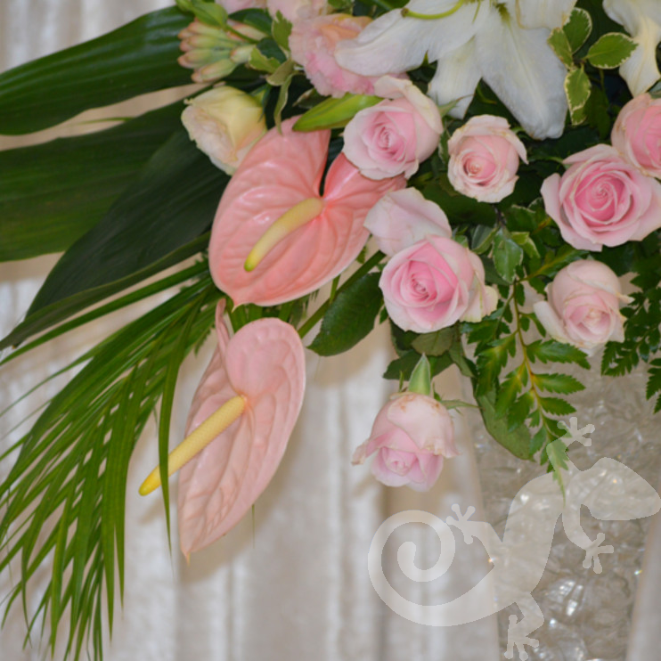 Flute vase, elegant centrepieces, anthuriums