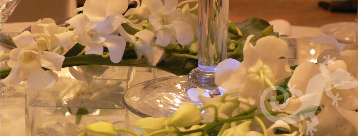 Modern table setting, orchids, elegant wedding