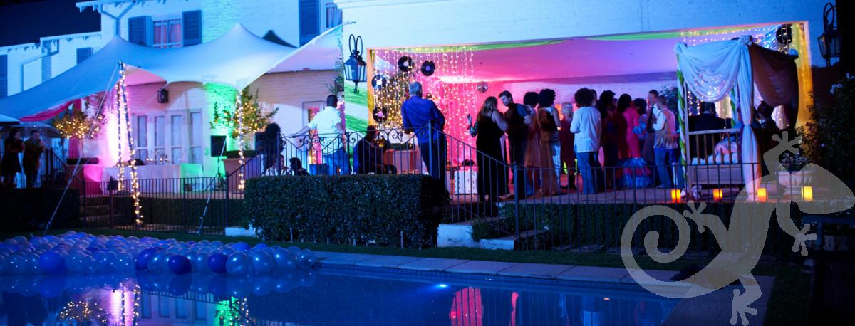 disco, house party, lit-up verandah