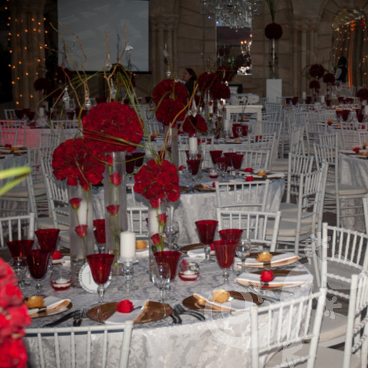 Red Hot Birthday, inspirational tablesettings, flowers, red hot, topiaries